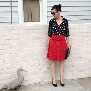 H&M Red & Black Cotton Polkadot Skirt